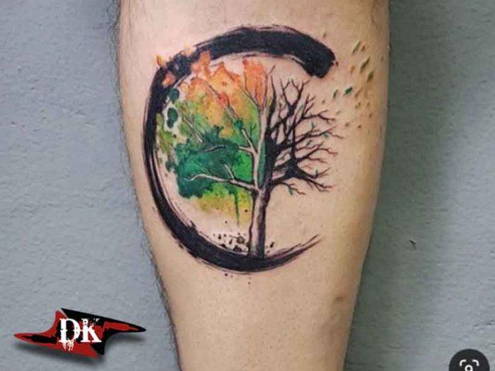 Dört Mevsim Ağaç Dövmesi