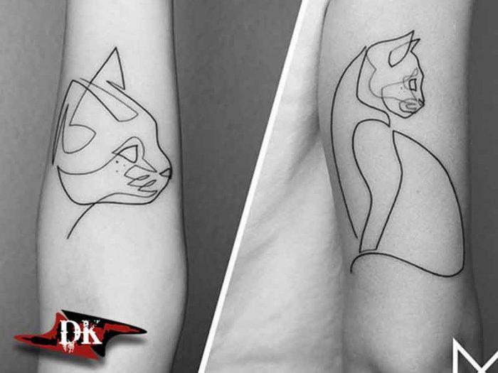 Kedi Modeli Çizgi Dövmesi
